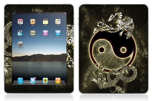 Bundle Monster Vinyl Skin Case Cover Art Decal Sticker Protector Accessories for Apple Ipad Tablet 16gb, 32gb, 64gb Wifi or 3G - Ying Yang Dragon Tiger
