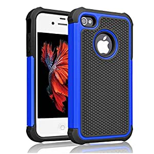 iPhone 4s Case ,[Corner Protection] Protective Case Detachable Defender Thin Protective Anti-dirt Scratch Resistant Hard Soft Heavy Duty Rubber Bumper Cover for iPhone 4 4s(Black/Blue)