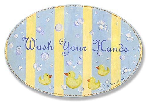The Kids Room by Stupell Wash Your Hands Yellow Stripes Rubber Ducky Oval Wall Plaque