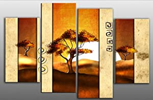 "Large Africa Landscape Modern Canvas artwork Picture 4 pieces multi panel split canvas completely ready to hang hanging cord attached, hanging template included for easy hanging, hand made printed to order UK company 40"" width 28"" height"