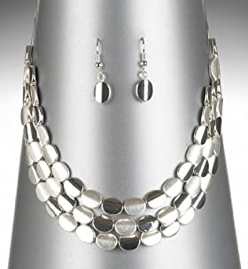 Silver Plated Slinky Nuggets Necklace