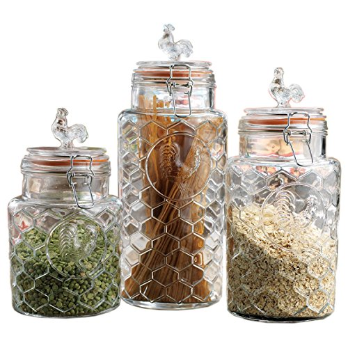 Save 44 Set Of Three 3 Round Clear Glass Airtight Rooster Canisters With Locking Clamps