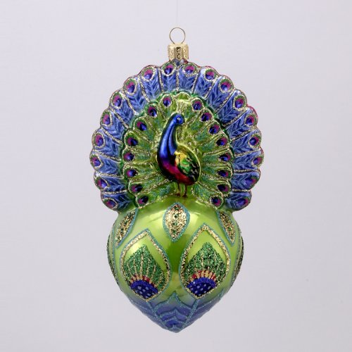 PROUD PEACOCK Glittered Glass Ornament Made in Poland David Strand NEW IN BOX