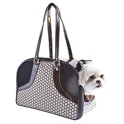 Petote Roxy Pet Carrier Bag, Noir Dots, Small
