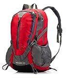 【 (デザイアブル)Desirable】バッグ リュックサック 防水 大容量の 32L バックパック 【ロードバイク用品】バイクツーリング アウトドア 通気性 と 機能性 高い 引裂強度 反射素材 防雨カバー 付 (レッド)