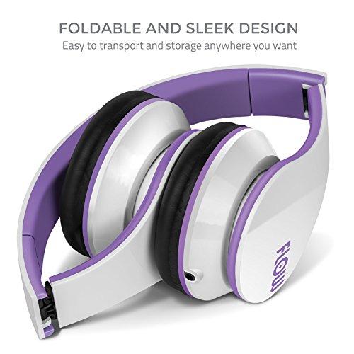 Purple bluetooth headphones with mic - headphones with microphone bass