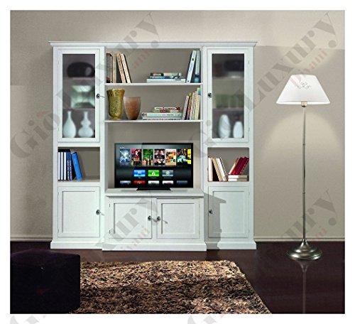 Composizione per soggiorno, stile classico, in legno massello e mdf con rifinitura in bianco opaco - Mis. 225 x 50 x 220