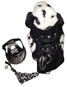 Pet Village Motor Dog Black Pleather Outfit 3-Piece Dog Clothing Hanging Set, XS/S