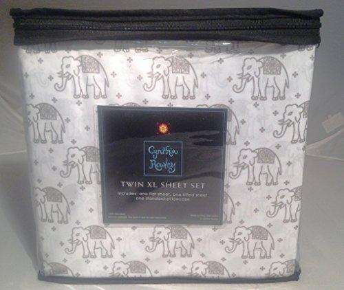 cynthia-rowley-bedding-grey-and-white-elephant-pattern-microfiber-twin-xl-sheet-set
