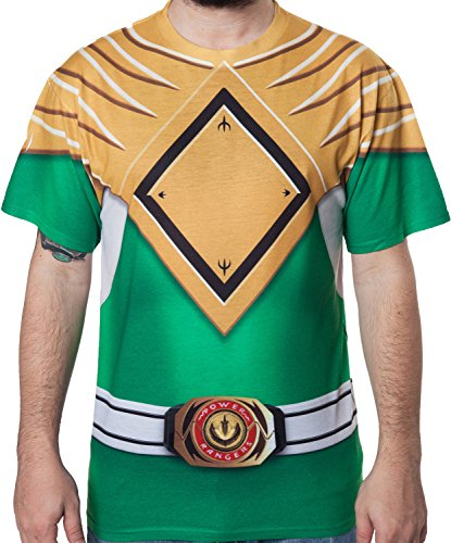 Men's Green Mighty Morphin Power Rangers Sublimation Costume Shirt