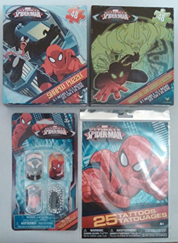 Spider-Man Activity Pack - 2 Unique Jigsaw Puzzles, 25 Tattoos, Dog-Tags - 4pc Spiderman Bundle - 1
