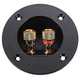 Tinksky DIY 2-Way Speaker Box Terminal Binding Post Round Screw Cup Connector Subwoofer Plug (Black)