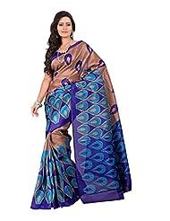 7 Colors Lifestyle Blue & Beige Coloured Bhagalpuri Embroidered Saree - B01537EKGE