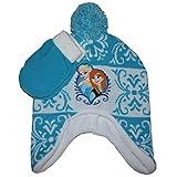 Disney Frozen Anna & Elsa Winter Beanie Hat & Mittens Set Toddler 2T - 5T