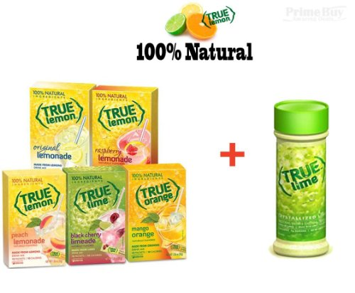 True Lemon Assorted Beverage Packets: (5 Boxes Of 10Ct Each) With Bonus Lime Shaker. True Lemon Original Lemonade, True Peach Lemonade, True Black Cherry Limeade, True Mango Orange And True Raspberry Lemonade. Powdered Sugar Free, Diet Assorted True Lemon