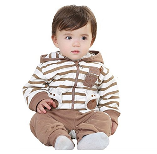 Sopo Baby Boy 3 Piece Outfits (Bear Strip Hood Jacket Tshirt Pants) Brown 12M front-1046074