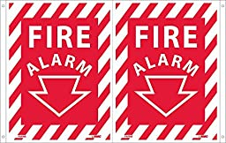 FAFMA National Marker Fire Alarm Sign, (Dbl Faced Flanged), 12 Inches x 9 Inches, 040 ALUM