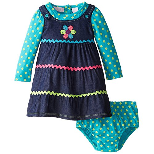Kids Headquarters Baby-Girls Newborn Polka Dots Long Sleeve Dress With Flower, Multi, 18 Months front-982142