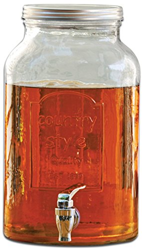 Circleware Country Glass Beverage Drink Dispenser with Metal Lid, 1.5 Gallon, Limited Edition Glassware Drinkware (Sun Tea Spigot compare prices)
