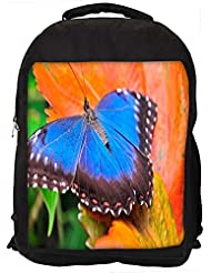 """Snoogg Blue Butterfly In Orange Leaf Casual Laptop Backpak Fits All 15 - 15.6"""" Inch Laptops"""