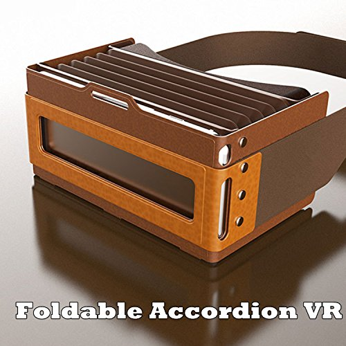 "3D Virtual Reality Headset, Foldable Accordion VR Headset/Glasses [Soft Silicone+Leather] for 4.5-6.0"" Android/IOS/PC for Samsung Galaxy S7 Edge S6, iPhone 7 6 6S Plus, Blackberry LG Sony Huawei etc"