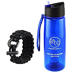 Water Purifier Bottle and Paracord Bracelet - Survival Kit for Hiking, Survival, Camping, Backpacking - BPA Free (Black Survival Bracelet)