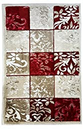Modern Area Rug Carpet Mat 3 Feet X 2 Feet : Red , Grey , Beige and White From the Richy-rich Collection