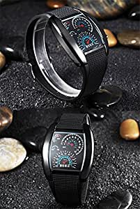 BestOfferBuy - Compteur de vitesse stylé de l'aviation LED bleue montre-bracelet cad'an argenté noir