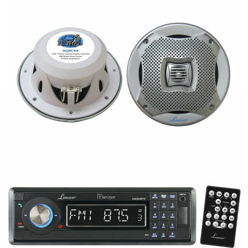 Lanzar Marine Receiver And Speaker System Package For Your Boat, Pool, Deck, Patio, Etc. - Aqcd60Btb Am/Fm-Mpx In-Dash Marine Detachable Face Radio Cd/Sd/Mmc/Usb Player & Bluetooth Wireless Technology - Aq5Cxs 400 Watts 5.25'' 2-Way Marine Speakers (Silve