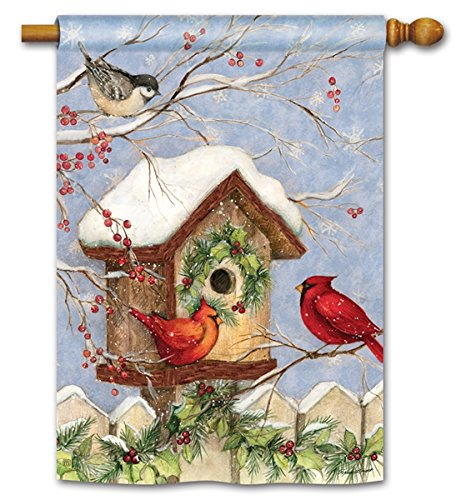 Christmas Winter Birdhouse & Red Cardinal Bird Chickadees Holiday 28