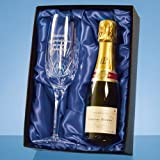 Blenheim Lead Crystal Panel Champagne Flute with a 20cl Bottle of Laurent Perrier Champagne in a Satin Lined Presentation Box with FREE ENGRAVING