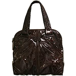 Kale Tate Satchel in Raven Patent Wrinkled Leather