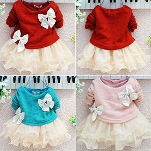 Juicart Baby Girls Dresses Long Sleeve Crochet Sweater Tops Lace Bowknot Tutu Clothing (9-12 Months, Blue)
