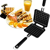 Happy Hours® Classic Non-stick Cast Aluminum Waffle Maker Checkered Cakes With Handle Baker Plates Waffles Tray Mold Fits for Stovetop/ Campfire Pan