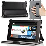 MoKo Slim-fit Cover Case for Google Nexus 7 Android Tablet by Asus, Carbon Fiber BLACK (with Automatic Sleep/Wake Function, and Elastic Hand Strap)