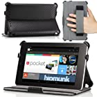 MoKo Slim-Fit Multi-angle Folio Cover Case for Google Nexus 7 Android Tablet by ASUS, Carbon Fiber BLACK (with Smart Cover Auto Wake/Sleep Feature)