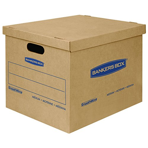 Bankers Box SmoothMove Classic Moving Boxes, Tape-Free Assembly, Medium, 18 x 15 x 14 Inches, 8 Pack (7717201) (Cardboard Boxes With Handles compare prices)