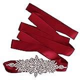 【ノーブランド品】ブライダル ウェディング ドレス ベルトサッシ クリスタル ラインストーン 輝き リボン ネクタイ 赤