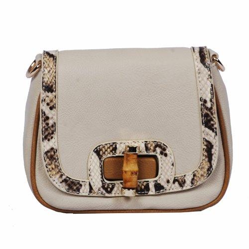 Vieta Dori Faux Python Skin Trimmed Leatherette Handbag Crossbody Purse, Colors Available