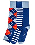 Noble Mount Mens Combed Cotton Dress Socks 3Pk - Cool Designs