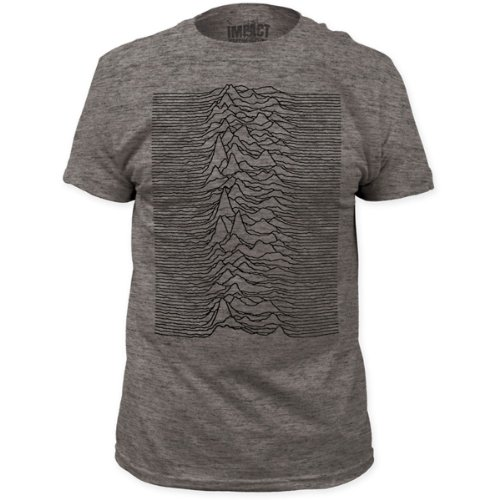 Joy Division - Mens Unknown Pleasures Fitted T-Shirt In Heather Grey, Size: Large, Color: Heather Grey