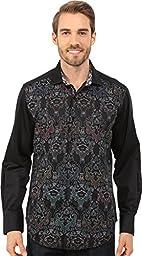 Robert Graham Men\'s Cumbernauld Long Sleeve Button-Down Shirt, Black, Medium