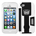 iPhone 5S / 5 Black/White Symbiosis Stand Protector Cover(with Bottle Opener and Credit Card Slot) - LIFETIME WARRANTY