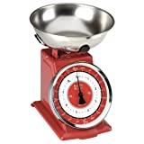 Typhoon Stainless Steel Retro Mechanical Kitchen Scale, Red