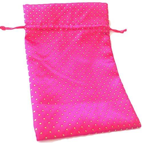 "Tarot Bags: Hot Pink Satin and Pearl 6"" X 9"""
