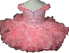 Aisha Little Girls39 Organza Flower Cupcakes Beading Mini Pageant Dress