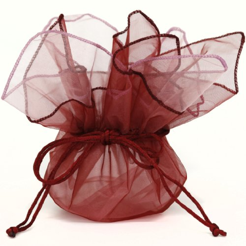 10 Designer Organza Fabric Gift Bags Pouches Party Favor Gifts Packaging Bungundy