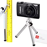 DURAGADGET Portable Lightweight Collapsible Mini Camera Tripod + BONUS Cleaning Cloth For Canon IXUS 255HS, Powershot S110 & Powershot SX510 HS