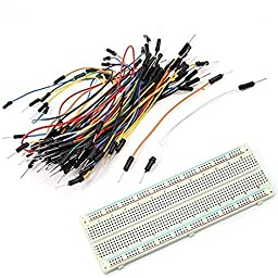 LANMU® 830 Tie Points Solderless PCB Breadboard Mb102+65pcs Jumper Cable Wires for Arduino