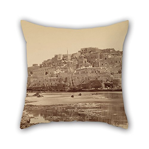 Elegancebeauty Oil Painting Félix Bonfils (French) - Jaffa, Vue Générale Prise De La Mer - Palestine Throw Pillow Covers ,best For Shop,bedding,teens,drawing Room,family,kitchen 20 X 20 Inches / (Dr Panda Ga compare prices)